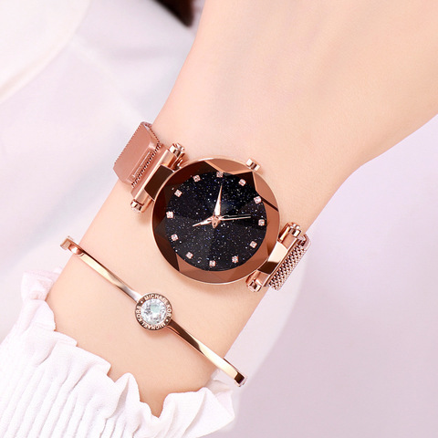 Fashion Star Sky Series Women Watches Cold Wind Dazzling Colorful Lazy Watches Female Magnet Button Quartz Wrist Watches Islamabad