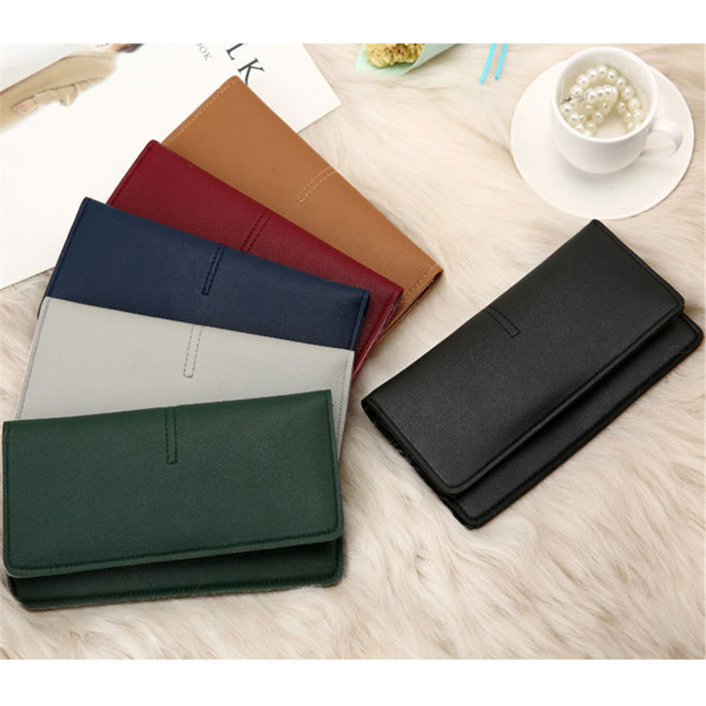 New Style Women Purse Europe And America Simple Ultra-thin Wallet Coin Card Phone Holder Soft Leather Female Clutch Fashion Bag