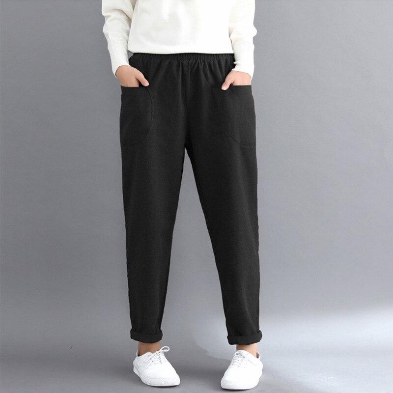 Johnature Casual Elastic Waist Women Pants Autumn Winter 2019 New