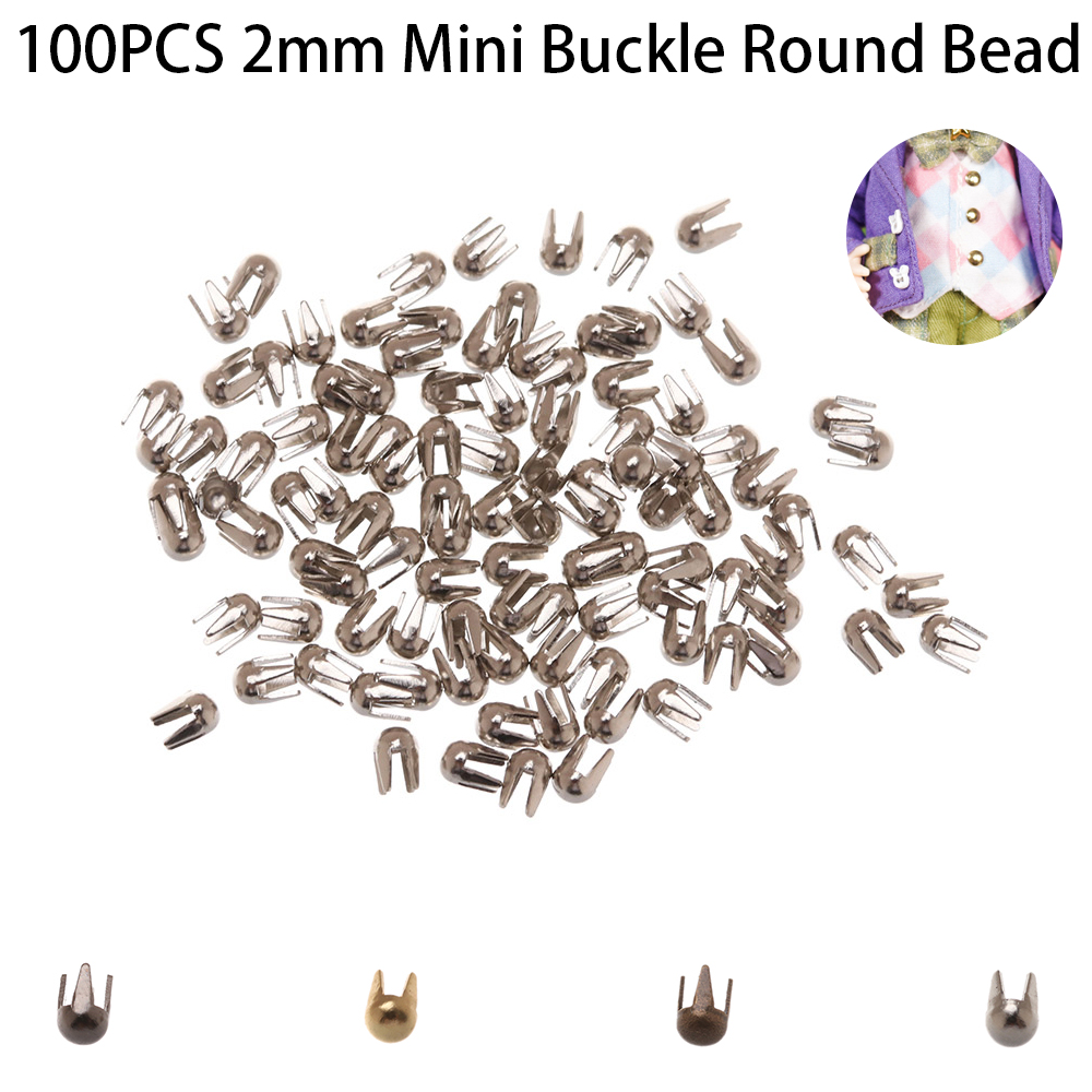 100 Pcs/Pack 2mm Mini Buckle Round Bead Claw Hammer Super Small Metal Buckles for DIY Doll Clothes Doll Accessories-in Dolls Accessories from Toys & Hobbies on AliExpress