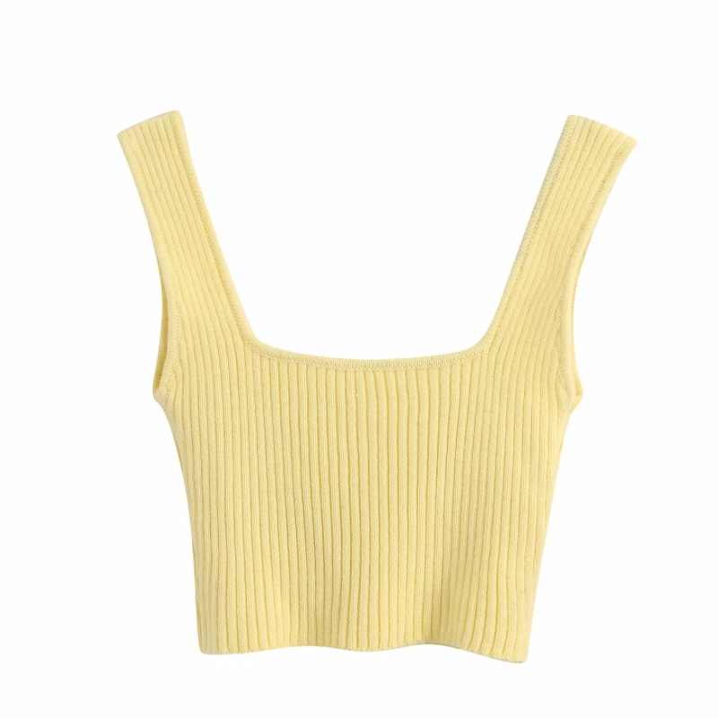 2020 New Women simply short yellow chic camis tank ladies summer strap knitted vest slim t shirt crop tops T617