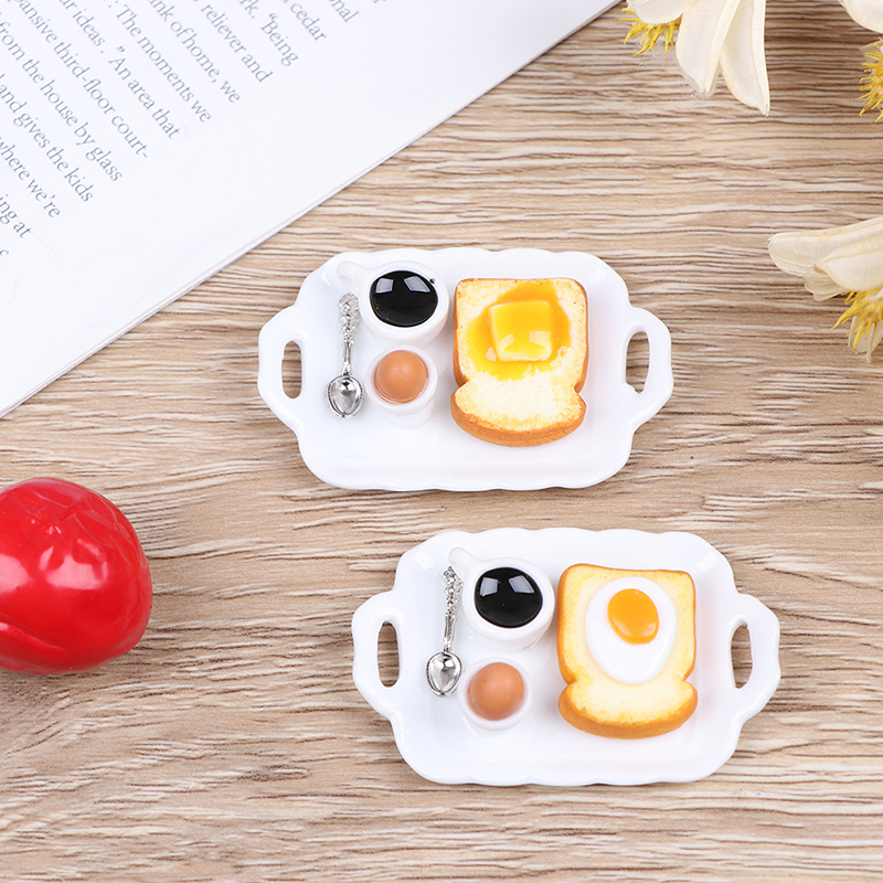 1/12 Mini Breakfast Egg Toast Coffee Cup Model Miniature Dollhouse Play Kitchen Restaurant Accessories Doll Food Toy