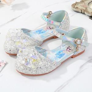 Image 3 - Prinses Kinderen Leren Schoenen Voor Meisjes Casual Glitter Kinderen Lage Hak Meisjes Schoenen Blauw Roze Zilver Elsa Party Schoen