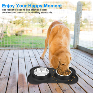 Image 3 - Benepaw Antislip Double Dog Bowl With Silicone Mat Durable Stainless Steel No Spill Pet Feeding Bowl Drinking Water Food Feeder