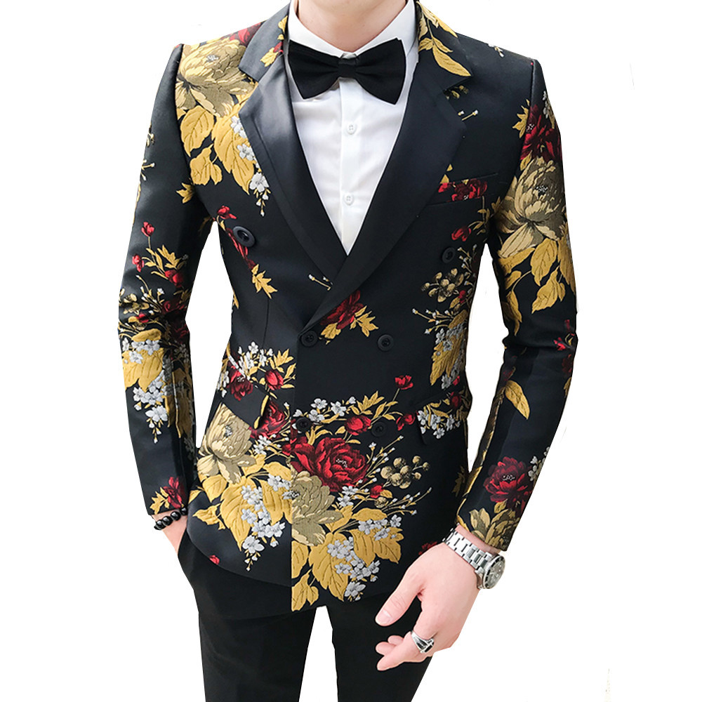 2019 Floral Blazer Men Gold Tulips Pattern Printed Casual Blazer Suit Jacket Double-breasted Gentleman Wedding Slim Fit Coat