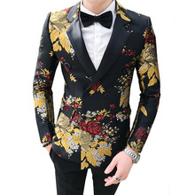 2019 Floral Blazer Men Gold Tulips Pattern Printed Casual Blazer Suit Jacket Double breasted Gentleman Wedding Slim Fit Coat