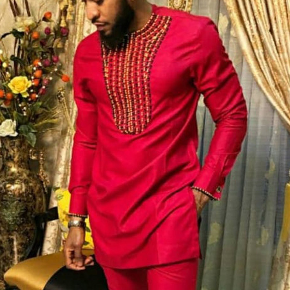 African Clothes Man Dashiki Traditional Tee Shirt Long Sleeve Tops Fashion Autumn Fall 2019 Male Red Men Shirt Africa Clothing