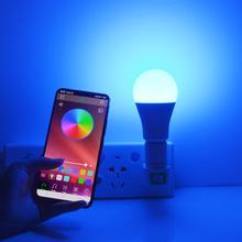 Bombilla LED con Control por aplicación Bluetooth, 15W, E27, lámpara inteligente RGB regulable, Compatible con sistema Android /IOS, iluminación inteligente DIY para el hogar