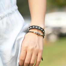 цена на Bracelet Jewelry Handmade Wrap Bracelet Leather Bracelet Metal Beads Strands Punk Leather Rope Woven Bracelet