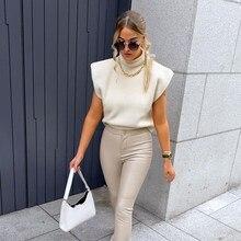 Pull tricoté à épaules larges pour femme, débardeur chaud, nouvelle collection 2021