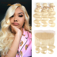 Rebecca 613 Blonde Bundles With Frontal Brazilian Body Wave Remy Blonde Human Hair 3 Bundles With Lace Frontal Closure