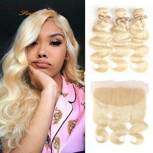 Rebecca 613 pacotes loira com frontal onda do corpo brasileiro remy loira cabelo humano 3 pacotes com fechamento de renda frontal