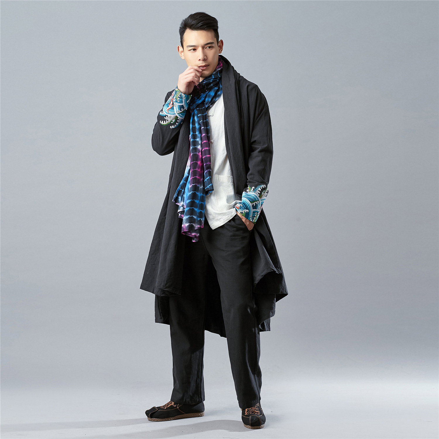 18 Years ma fan bu yi Spring New Products Cotton Linen Men'S Wear Retro Embroidered Chinese-style Men's Mantle   Trench   Coat Cool