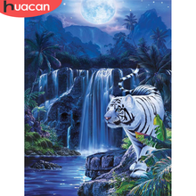 HUACAN Full Square Diamond Embroidery Tiger Kit Diamond Painting 5D Waterfall Mosaic Cross Stitch Animal Decor For Home