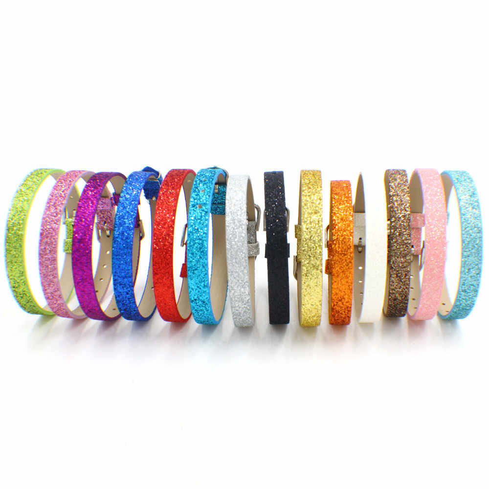 1pc 8mm breed 210mm lengte Glitter Polsband armbanden bedels armbanden fit voor 8mm slide charms als kids gift