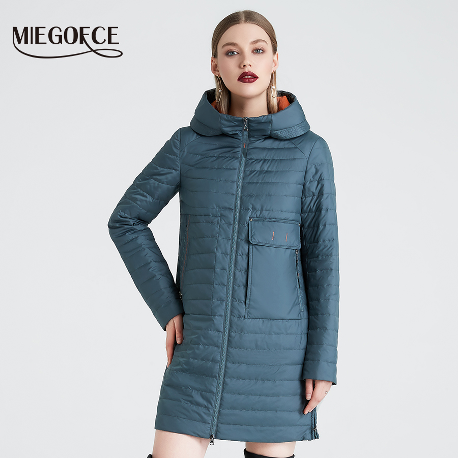 MIEGOFCE 2019 Spring And Autumn Women's Hooded Jacket Women's Fashionable Windproof Coat With Large Pockets Long Cotton Parka