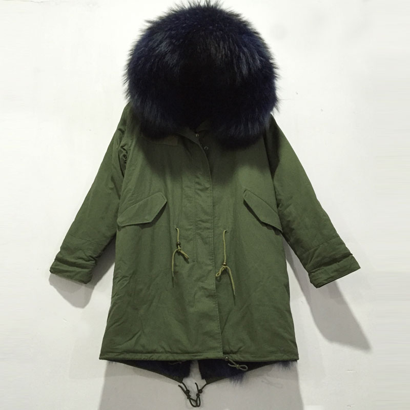Men Fashion Army Green Long Jacket With Blue Mixed Coyote Fur Super Warm Fur Jacket