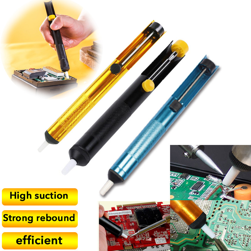 Aluminum Desoldering Pump Metal Solder Sucker Pen Desolder High Efficiency Removal Vacuum Soldering Desolder Hand Welding Tools