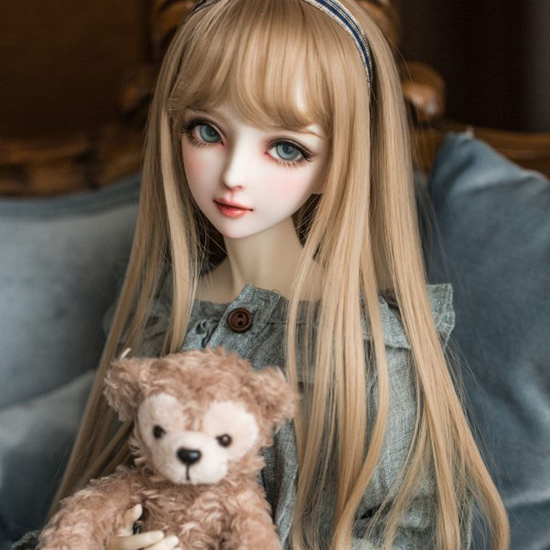 Bjd <font><b>Wig</b></font> 40cm Hair for <font><b>60cm</b></font> <font><b>Dolls</b></font> Fashion Bjd <font><b>Doll</b></font> Long Brown High Temperature Fiber Hair <font><b>Doll</b></font> Accessories Makeup Gifts for Girls image