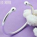 DOTEFFIL 925 Sterling Silber 4mm Glatte Solide Bead Armband Manschettenknöpfe Armreifen Für Frauen Männer Hochzeit Engagement Party Schmuck