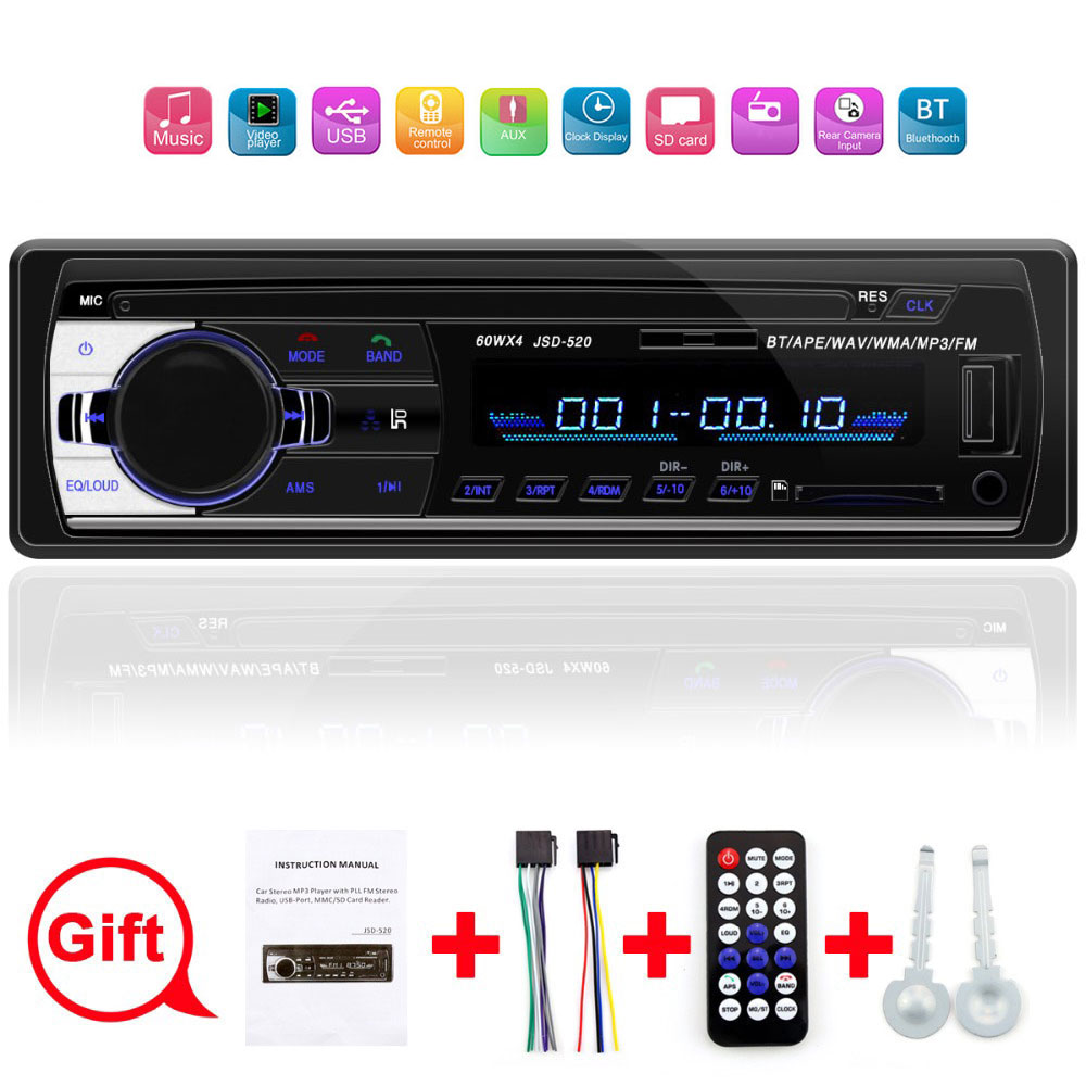 Car Radio 1 Din 12V Bluetooth V2.0 Car Audio Stereo In-dash FM Aux Input Receiver SD USB MP3 MMC WMA Car Player Autoradio