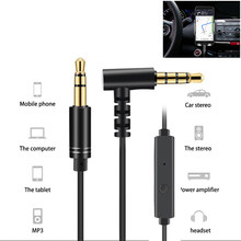 1m Audio Cable 3.5mm car Auxiliary Cord Jack Aux Cable With Mic for Phone Computer to Speaker Headphone Elbow Male-Male Cord