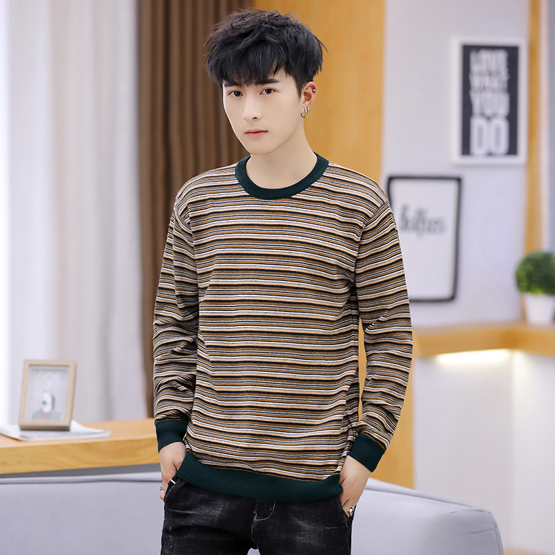 Long Sleeve Sweater Color Spinning Stripe Striped Thin Section O-Neck Knitting Pullover Bottoming Men Knitting Sweater