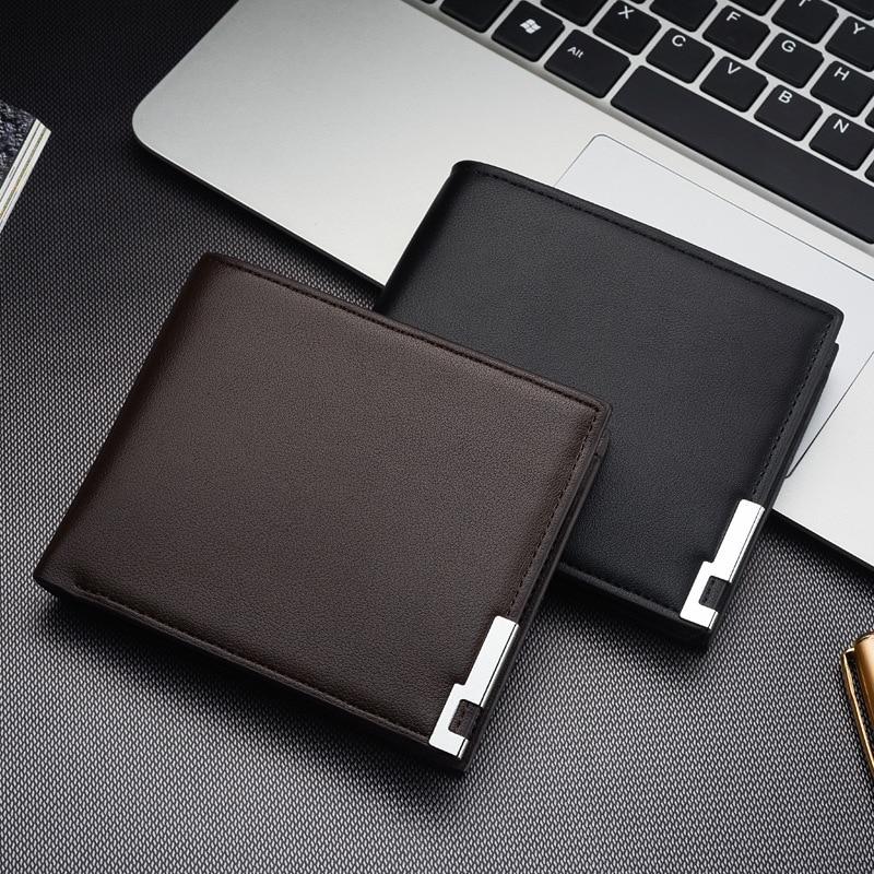 Vente chaude nouveaux hommes court portefeuille fer bord coréen jeunesse hommes Horizontal portefeuille tendance carte Pack sac à main
