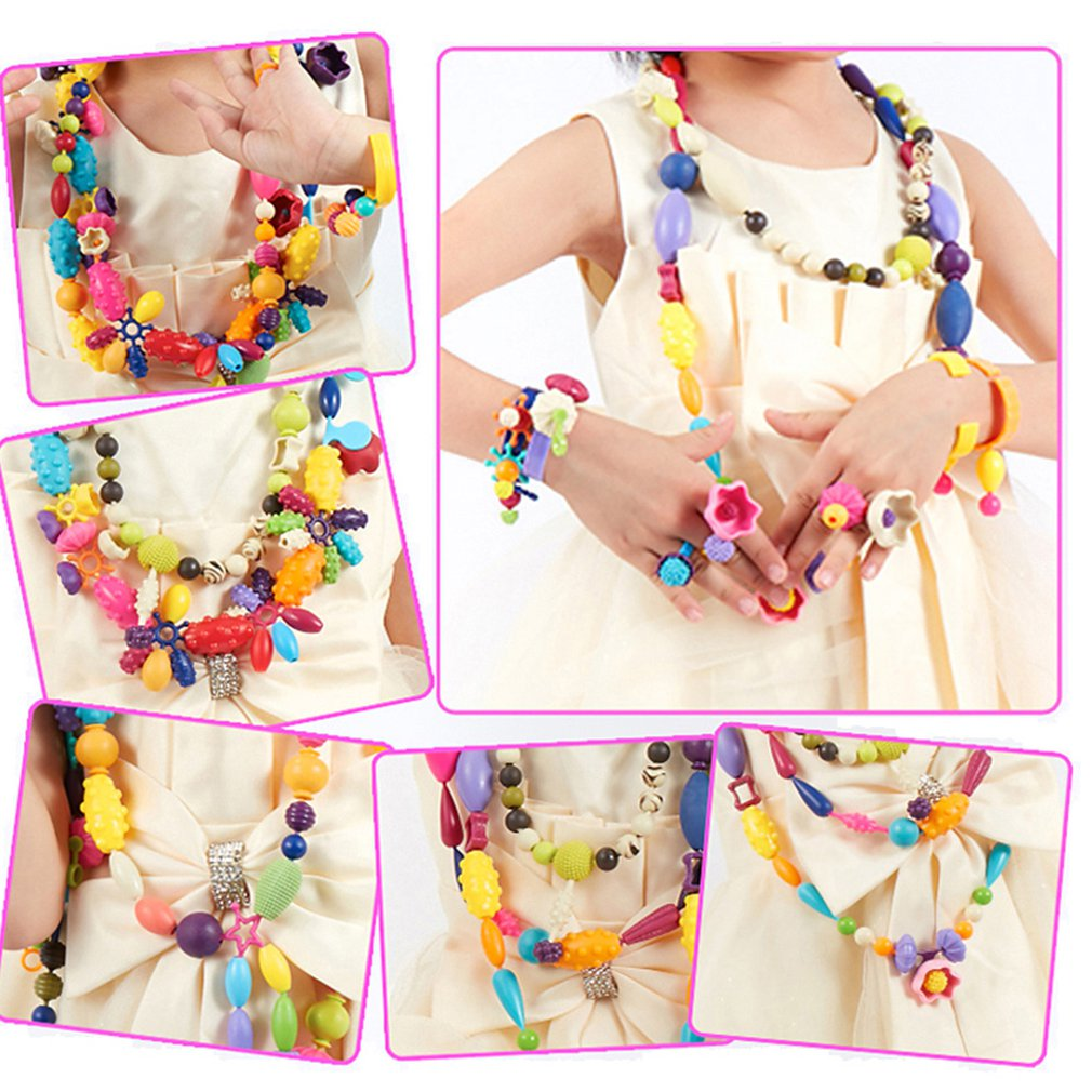 600pcs Children Creative DIY Beads Toy With Whole Accessory Set/ Kids Girls Handmade Art Craft Educational Toys For Gifts