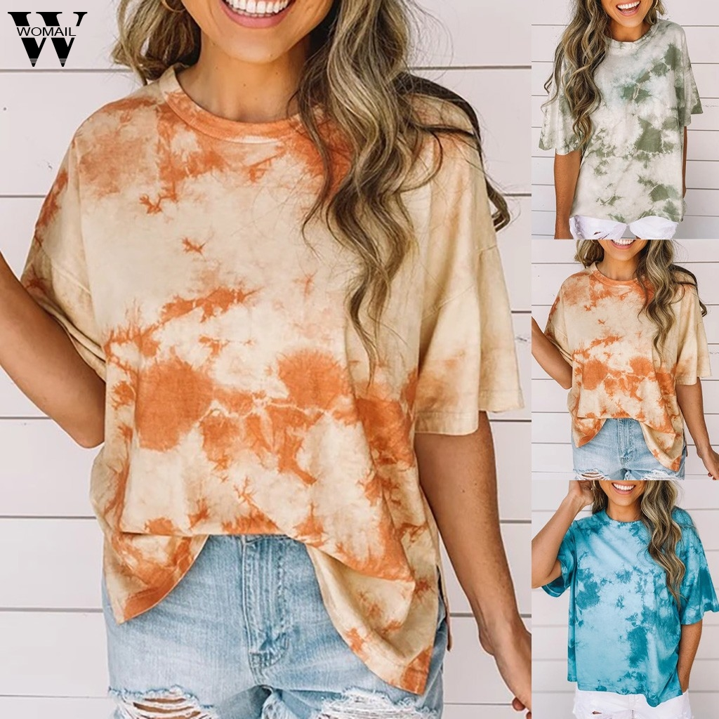 Womail Women T-shirt Summer High Quality Basic T shirt Short Sleeve Top Tee Tie-Dye Casual Loose Tee Shirt Femme camiseta mujer
