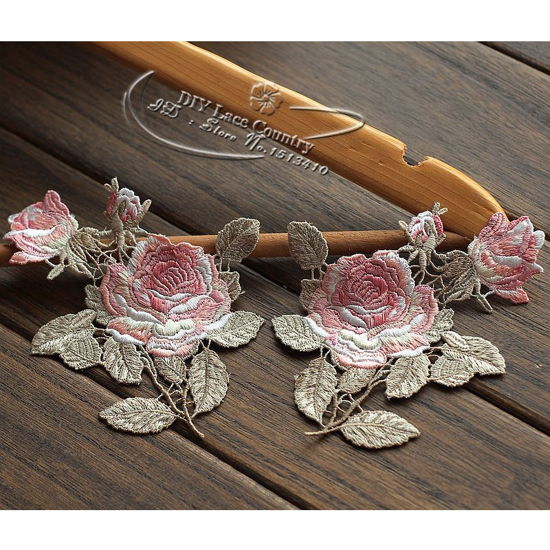 A Pair Patches 13 5x10 5CM Sew On Embroidered Polyester Lace Applique Sewing Patch Lace Trim For Collar Beautiful Patches in Patches from Home Garden