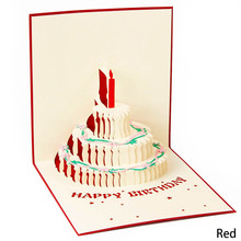 Envelope Invitation-Card Origami Cake Handcrafted Candle-Design Birthday Fashion-Up 3D