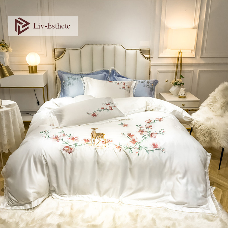 Liv-Esthete Luxury Embroidery Flowers Deer White Bedding Set Silky Cotton Duvet Cover Set Pillowcase Double Queen King Bed Linen