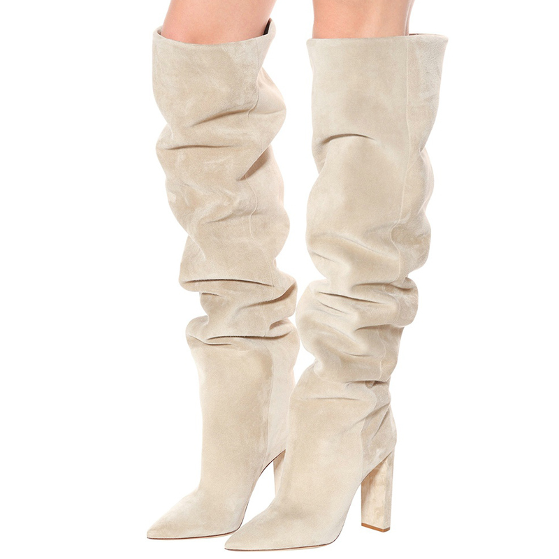 womens suede slouch boots