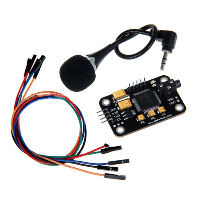 Control Durable Voice Recognition Module Universal Jumper Wire Black Speech With Microphone Tools High Sensitivity For A rduino