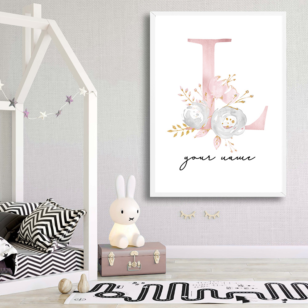 Baby Posters Personalized Girl's Name Custom Poster Nursery Prints Pink Flowers Wall Art Canvas Painting Pictures For Girls Room