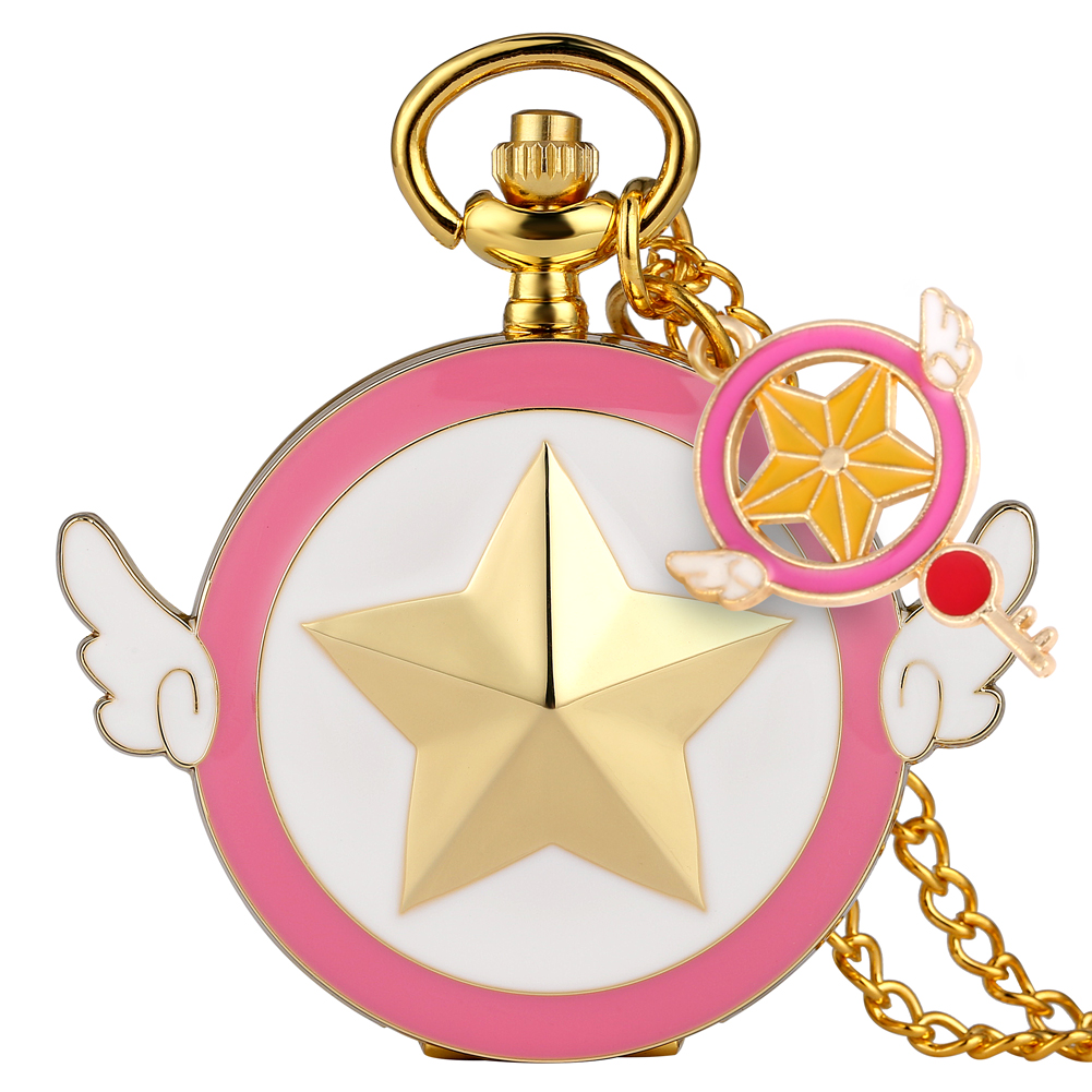 Lovely Magic Girl Case Pocket Watch Children Sailor Moon Accessory Ornament Pendant Watches Women Slim Chain Necklace Clock