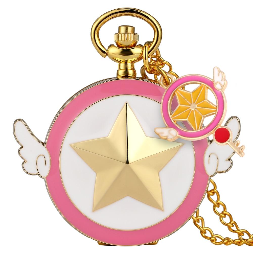 Lovely Magic Girl Case Pocket Watch Children Sailor Moon Accessory Ornament Pendant Watches Women Slim Chain Necklace Clock
