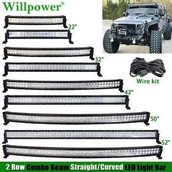 4 #215 4 ciężarówka na dach samochodowy 22 #8222 32 #8221 42 #8222 52 #8221 50 cal listwa świetlna LED dla Jeep JK Dodge Chevy SUV Offroad 4WD prosto zakrzywione listwa oświetleniowa LED tanie i dobre opinie Willpower CN (pochodzenie) Podwójnym Rzędzie Proste 22 32 42 50 52inch 6000 k -40 to 85℃ Rohs Combo Strony IP67