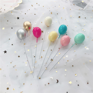 Image 1 - 6Pcs Oro Argento Colore del Palloncino Collection Cake Topper per la Decorazione Del Partito Dessert Bella Regali di Compleanno Torta Nuziale Bandiere