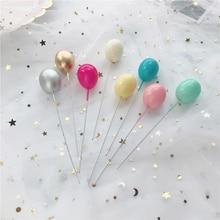 Ballons couleur argent doré 6 pièces, Collection de gâteau, décoration de fête, Dessert, beaux cadeaux, drapeaux pour gâteau danniversaire de mariage