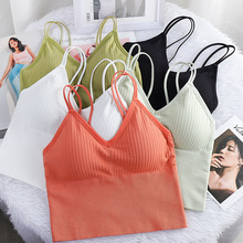 Top-Camisole Crop-Tops Underwear Padded Bra-Tube Tank-Top Seamless Sexy Female Sports