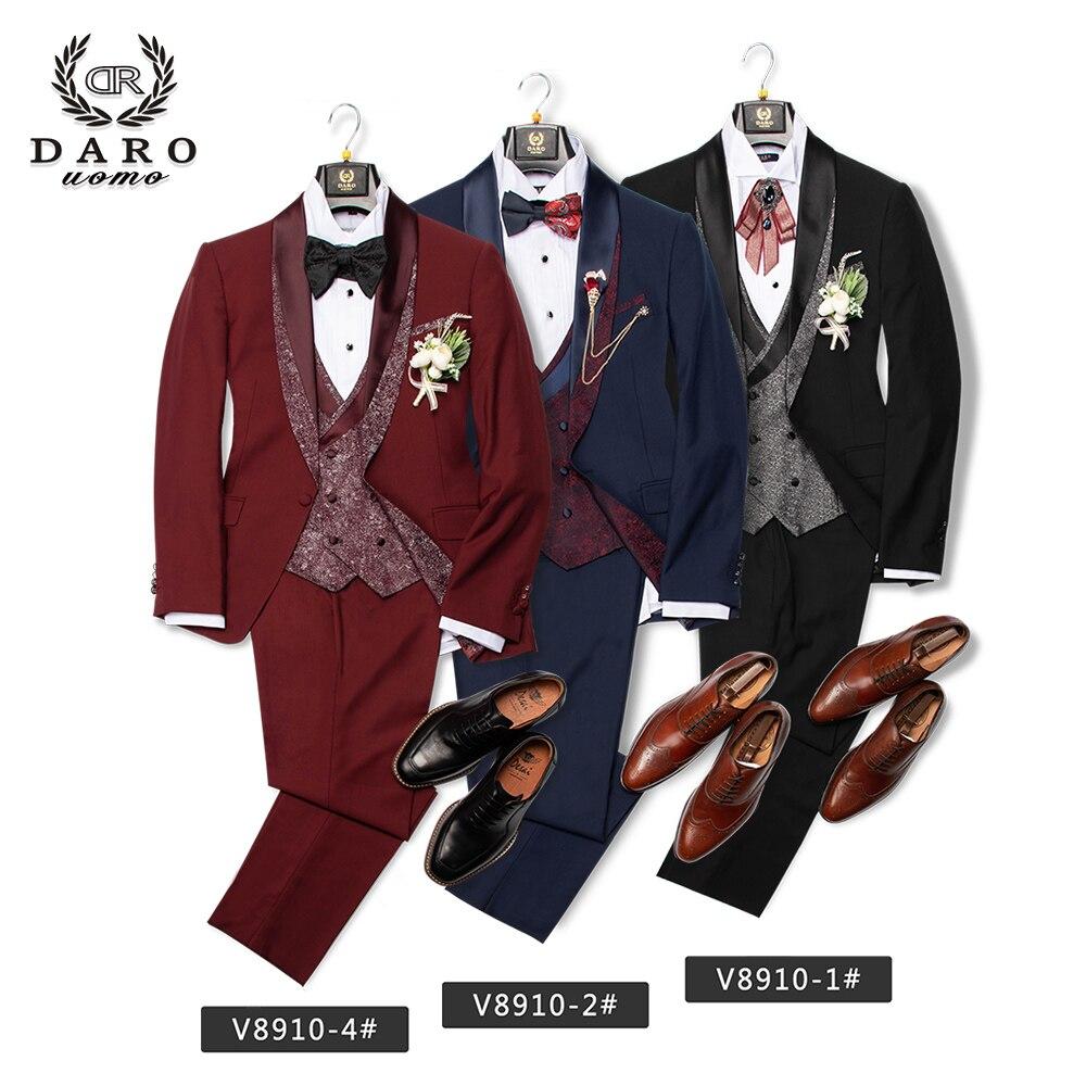 DARO 2020 Men Suit Bridegroom Wedding Tuxedo New Style Blazer Slim Fit Jacket Vest Pant 3 Piece Black Blue White Party DRV8910