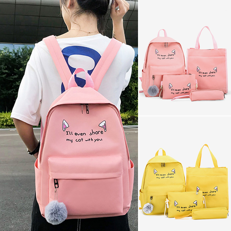 Women Canvas Cute Composite Bag School Bags For Teenage Girls Solid Color Female Daypack Fashion Lady Backpack Totes
