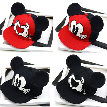 Disney Mickey Mouse Hat Childrens Cute Cartoon Mesh Cap Baby Baseball Boy and Girl with Ear Shaped hat