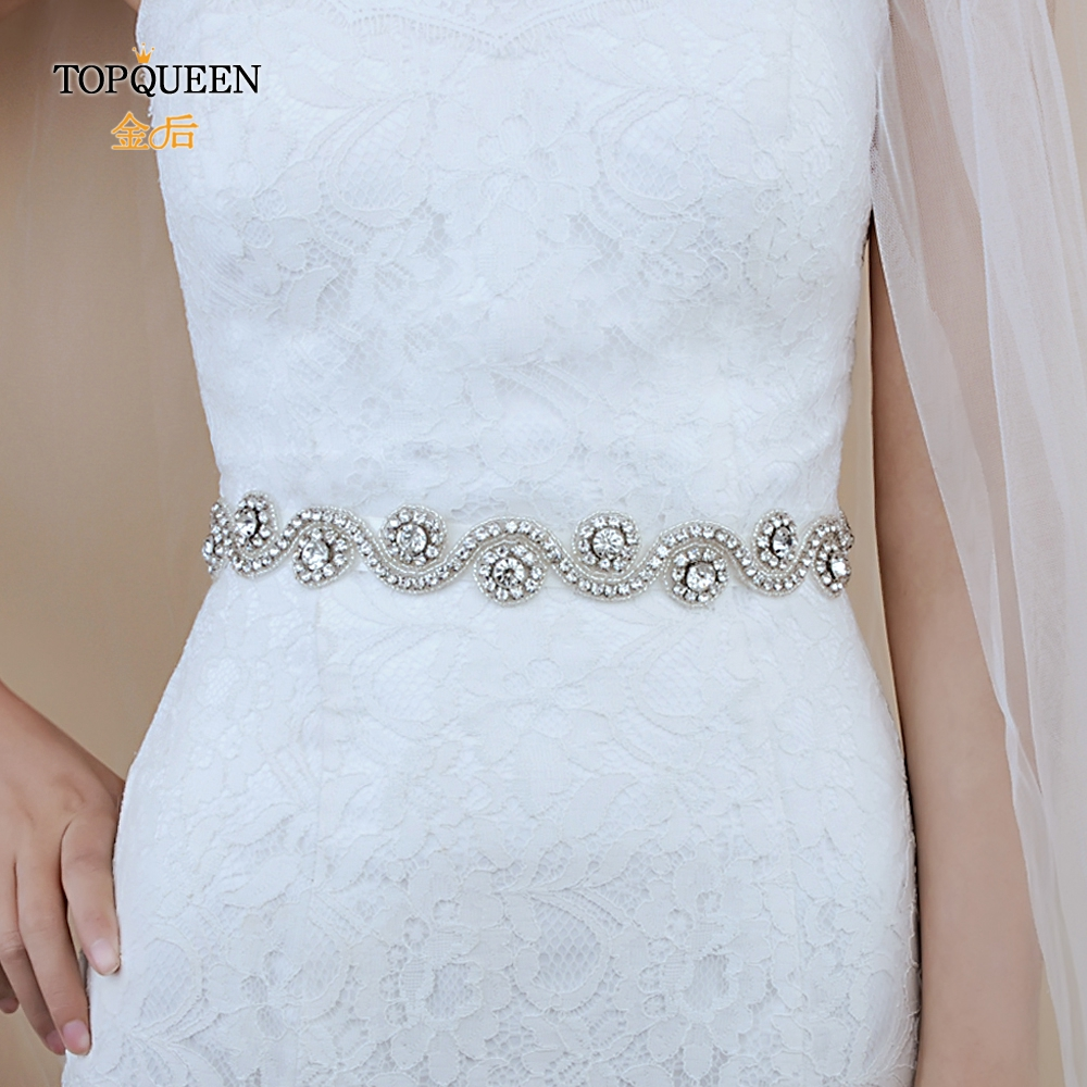 TOPQUEEN S10 Bridal Belts Silver Diamond Belt Wedding Accessories Belts For Women Wedding Dress Sash Belt For The Bride