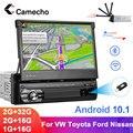 Автомагнитола Camecho, универсальная мультимедийная стерео-система на Android, с 7-дюймовым выдвижным сенсорным экраном, GPS, USB/TF/FM, Типоразмер 1 Din