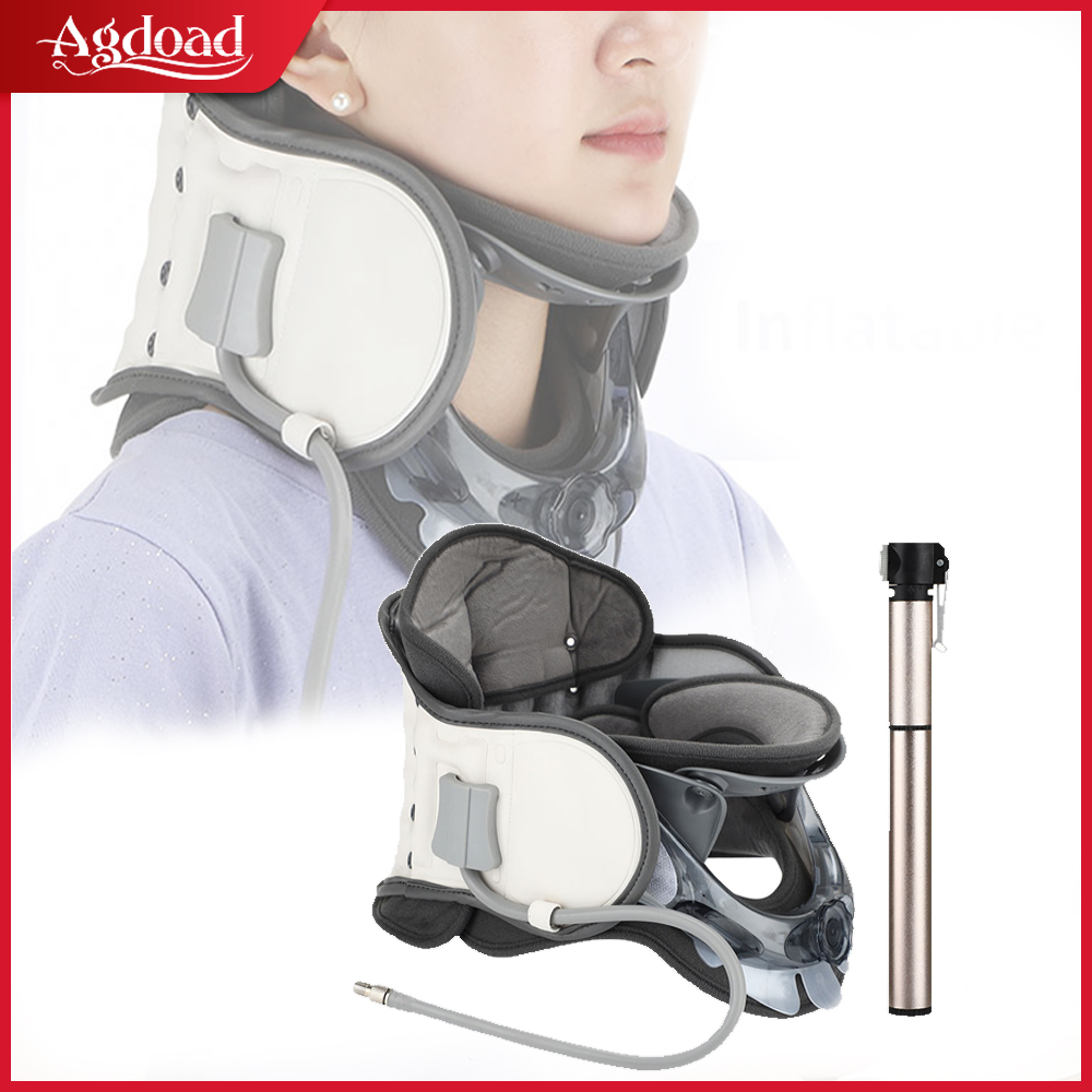 Upgraded Neck Tractor Adjustable Cervical Traction Device Pump Pain Relief Inflatable Neck Collar for Men Women