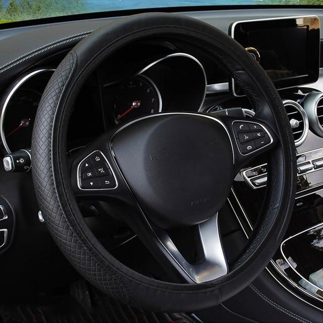 Универсальный чехол рулевого колеса автомобиля Противоскользящий чехол на руль, противоскользящий кожаный чехол с тиснением, автомобильные аксессуары 3