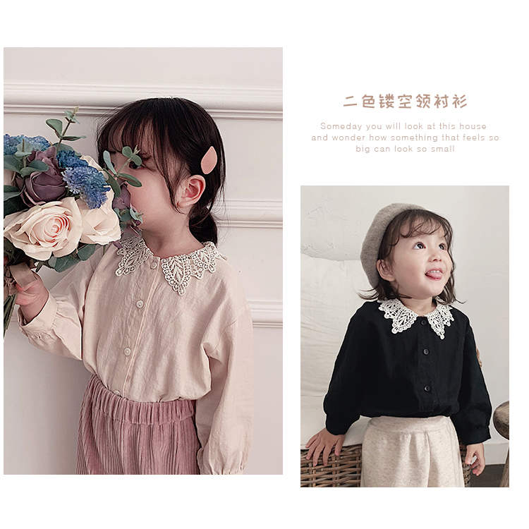 Girl Shirt Long Sleeve 2019 New Kids Spring and Autumn Pure Cotton Shirt Baby Lace Turn-collar Top Toddler Kids Blouses Clothing